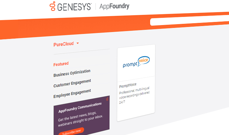 Promptvoice on Genesys Appfoundry